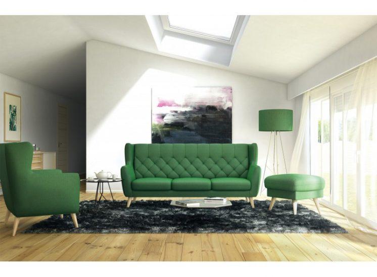 Aria komplektas pufas fotelis dviviete sofa triviete sova