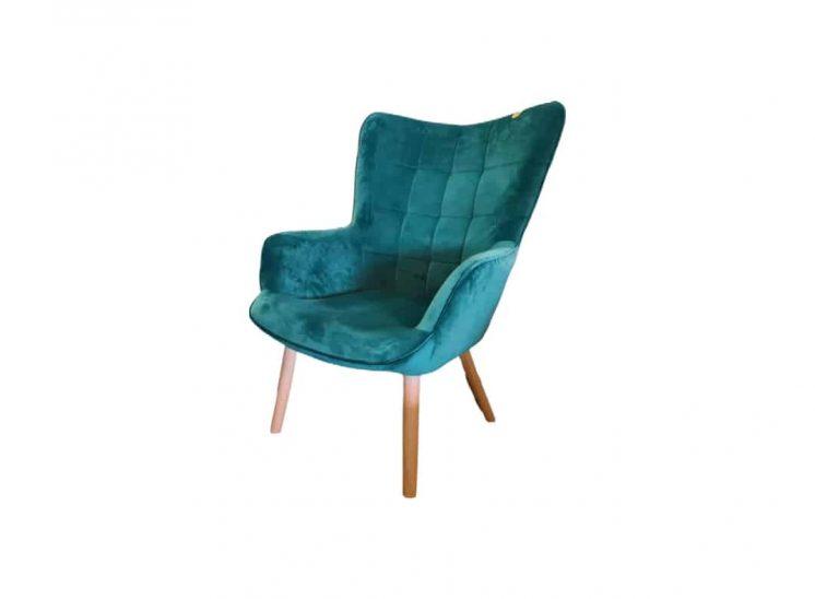 Smaragdo žalumos fotelis
