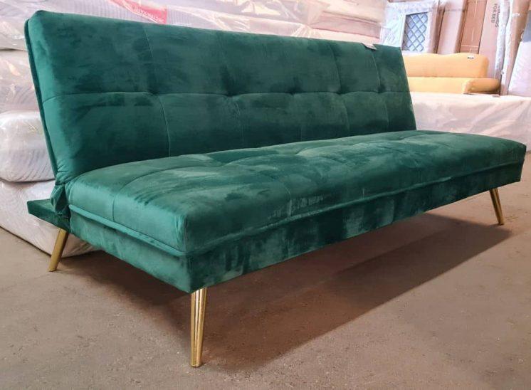 Smaragdo spalvos veliūro sofa lova